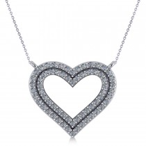 Double Row Open Heart Diamond Pendant Necklace 14k White Gold (0.66ct)