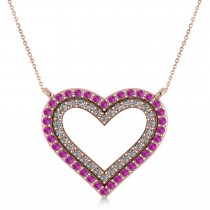 Double Open Heart Diamond & Pink Sapphire Pendant 14k Rose Gold (0.66ct)