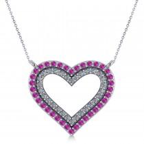 Double Open Heart Diamond & Pink Sapphire Pendant 14k White Gold (0.66ct)