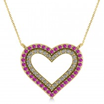 Double Open Heart Diamond & Pink Sapphire Pendant 14k Yellow Gold (0.66ct)