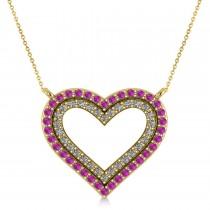 Double Open Heart Diamond & Pink Sapphire Pendant 14k Yellow Gold (0.66ct)