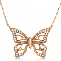 Diamond Monarch Butterfly Pendant Necklace 14k Rose Gold 0.20ctw