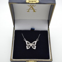 Diamond Monarch Butterfly Pendant Necklace 14k White Gold 0.20ctw|escape