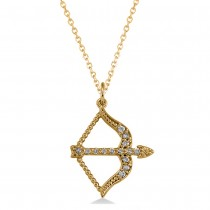 Bow and Arrow DIamond Pendant Necklace 14k Yellow Gold (0.15ct)