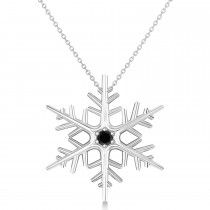 Black Diamond Winter Snowflake Pendant Necklace 14k White Gold (0.04ct)