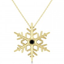 Black Diamond Winter Snowflake Pendant Necklace 14k Yellow Gold (0.04ct)