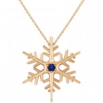 Blue Sapphire Winter Snowflake Pendant Necklace 14k Rose Gold (0.04ct)