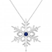 Blue Sapphire Winter Snowflake Pendant Necklace 14k White Gold (0.04ct)