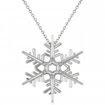 Diamond Snowflake Pendant Necklace 14k White Gold (0.06ct)