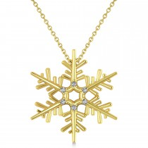 Diamond Snowflake Pendant Necklace 14k Yellow Gold (0.06ct)