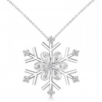 Diamond Snowflake & Flower Pendant Necklace 14k White Gold (0.07ct)