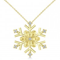 Diamond Snowflake & Flower Pendant Necklace 14k Yellow Gold (0.07ct)