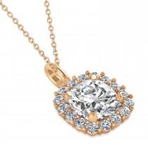 Cushion Cut Diamond Halo Pendant 14k Rose Gold (2.76ct)