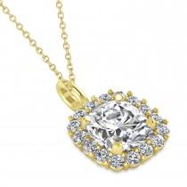 Cushion Cut Diamond Halo Pendant 14k Yellow Gold (2.76ct)