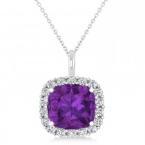 Cushion Cut Amethyst & Diamond Halo Pendant 14k White Gold (2.76ct)