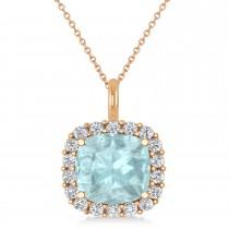 Cushion Cut Aquamarine & Diamond Halo Pendant 14k Rose Gold (2.96ct)