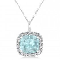 Cushion Cut Aquamarine & Diamond Halo Pendant 14k White Gold (2.76ct)