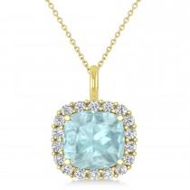 Cushion Cut Aquamarine & Diamond Halo Pendant 14k Yellow Gold (2.76ct)
