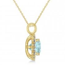 Cushion Cut Aquamarine & Diamond Halo Pendant 14k Yellow Gold (2.96ct)