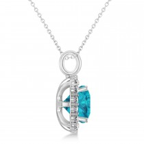 Cushion Cut Blue & White Diamond Halo Pendant 14k White Gold (2.76ct)|escape