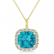 Cushion Cut Blue & White Diamond Halo Pendant 14k Yellow Gold (2.76ct)