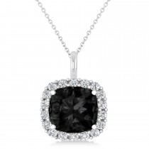 Cushion Cut Black & White Diamond Halo Pendant 14k White Gold (2.76ct)
