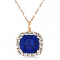 Cushion Cut Blue Sapphire & Diamond Halo Pendant 14k Rose Gold (2.76ct)