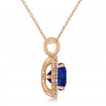 Cushion Cut Blue Sapphire & Diamond Halo Pendant 14k Rose Gold (2.96ct)