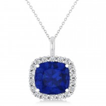 Cushion Cut Blue Sapphire & Diamond Halo Pendant 14k White Gold (2.76ct)