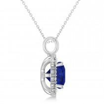 Cushion Cut Blue Sapphire & Diamond Halo Pendant 14k White Gold (2.96ct)