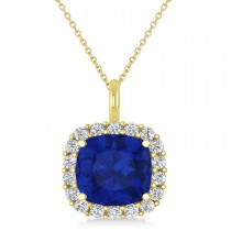 Cushion Cut Blue Sapphire & Diamond Halo Pendant 14k Yellow Gold (2.76ct)
