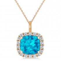 Cushion Cut Blue Topaz & Diamond Halo Pendant 14k Rose Gold (2.76ct)