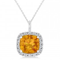 Cushion Cut Citrine & Diamond Halo Pendant 14k White Gold (2.76ct)