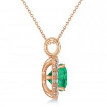 Cushion Cut Emerald & Diamond Halo Pendant 14k Rose Gold (2.96ct)