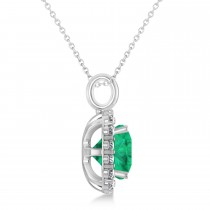 Cushion Cut Emerald & Diamond Halo Pendant 14k White Gold (2.76ct)