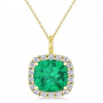 Cushion Cut Emerald & Diamond Halo Pendant 14k Yellow Gold (2.96ct)