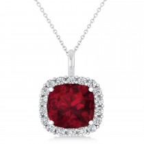 Cushion Cut Garnet & Diamond Halo Pendant 14k White Gold (2.76ct)