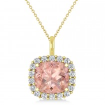 Cushion Cut Morganite & Diamond Halo Pendant 14k Yellow Gold (2.76ct)