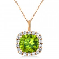 Cushion Cut Peridot & Diamond Halo Pendant 14k Rose Gold (2.76ct)
