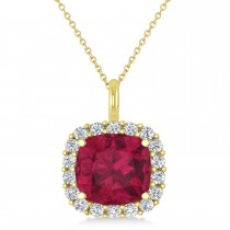 Cushion Cut Ruby & Diamond Halo Pendant 14k Yellow Gold (2.76ct)