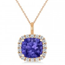Cushion Cut Tanzanite & Diamond Halo Pendant 14k Rose Gold (2.96ct)