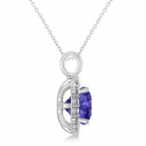 Cushion Cut Tanzanite & Diamond Halo Pendant 14k White Gold (2.76ct)