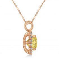 Cushion Cut Yellow & White Diamond Halo Pendant 14k Rose Gold (2.76ct)|escape