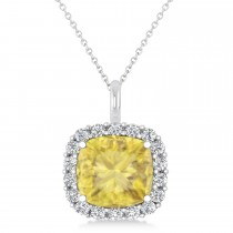 Cushion Cut Yellow & White Diamond Halo Pendant 14k White Gold (2.76ct)