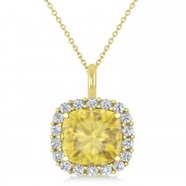 Cushion Cut Yellow & White Diamond Halo Pendant 14k Yellow Gold (2.76ct)