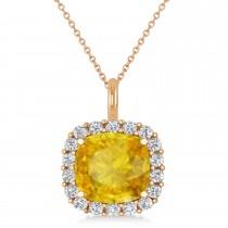 Cushion Cut Yellow Sapphire & Diamond Halo Pendant 14k Rose Gold (2.96ct)