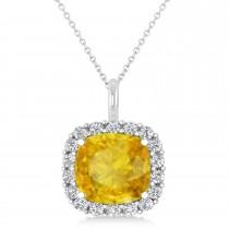 Cushion Cut Yellow Sapphire & Diamond Halo Pendant 14k White Gold (2.76ct)