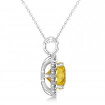 Cushion Cut Yellow Sapphire & Diamond Halo Pendant 14k White Gold (2.96ct)