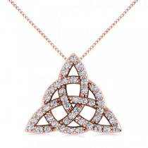 Diamond Trinity Celtic Knot Pendant Necklace 14k Rose Gold (0.45ct)