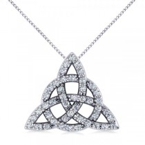 Diamond Trinity Celtic Knot Pendant Necklace 14k White Gold (0.45ct)